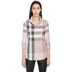 affd8324096f Burberry Brit Women Macro Checked Cotton Shirt ( 360) ❤ liked on Polyvore  featuring tops