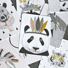 carte postale Panda indien Minimel - deco-graphic.com