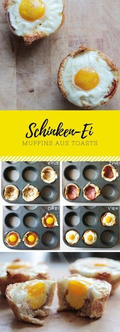 Schinken-Ei-Muffins auf Toast leicht in einer Muffinform backen. Passt auch mit … Bake ham egg muffins on toast lightly in a muffin tin. Also goes well with bacon. Perfect for brunch at Easter or on birthdays Party Snacks, Lunch Snacks, Egg Recipes, Baking Recipes, Ham And Eggs, Comida Latina, Baked Ham, Food Porn, Food And Drink