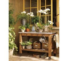 Potting bench idea. Do this outside a window I want more privacy for.