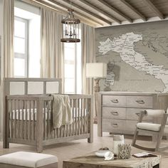 Rustico Convertible Crib in Sugar Cane from PoshTots.com.  Great for boys' room.