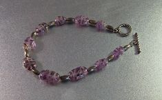 Sterling Carved Amethyst Bracelet Chinese Bead Toggle Clasp