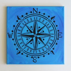 Handmade Compass Rose, Bohemian/Nautical Art, Beach Decor, Hipster, Handmade Acrylic Painting on 12x12 canvas with matching bright blue painted