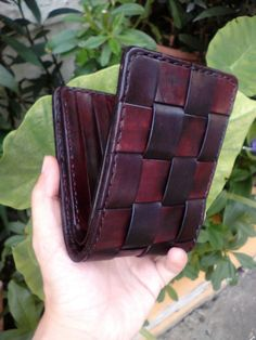 Hand stitched leather Bifold