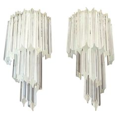 Pair of Vintage Murano Wall Sconce 32 Quadriedri Trasparent Prism   From a unique collection of antique and modern wall lights and sconces at https://www.1stdibs.com/furniture/lighting/sconces-wall-lights/