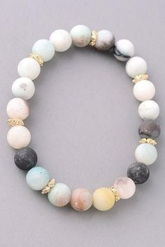 Natural Stone beaded bracelet - Earth http://amzn.to/2srDsxU