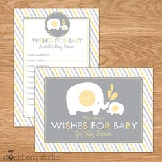 Elephant Baby Shower Wishes for Baby Advice by stockberrystudio, $10.00