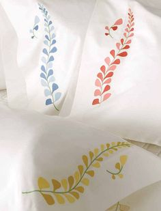 Lulu Dk for Matouk Snapdragon - Floral stem embroidery 300 thread count long staple cotton percale.