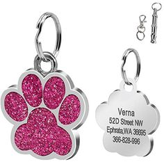 Didog Large Glitter Paw Print Custom Pet ID Tags for Medium Large Dogs and Cats,Personalized Egraving,Pink >>> See this great product. (This is an affiliate link) #DogIDTags
