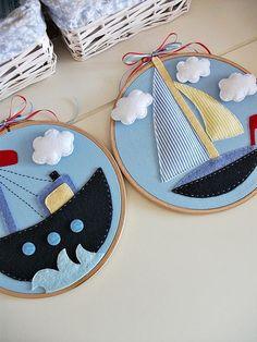 Pretty Felt craft on embroidery hoop by Sümeyye ?nan - ciciseylerdukkani it yourself gifts gifts gifts made gifts handmade gifts Baby Crafts, Felt Crafts, Fabric Crafts, Sewing Crafts, Crafts For Kids, Arts And Crafts, Embroidery Hoop Crafts, Hand Embroidery, Embroidery Fashion
