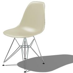 Picture of Eames Molded Plastic Side Chair with Eiffel Tower Base. Pale yellow, peacock blue, lime green , light gray, dk gray, stone, etc