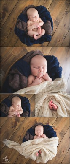 Rustic newborn photography shots - barnwoon baby and burlap with a hint of navy blue