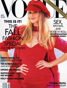 Original blonde supermodel Claudia Schiffer was red hot in a baker boy cap on the cover of Vogue back in 1992