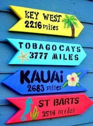 Putting a number on how far away you actually are from paradise makes it seem less far away! Decorate your party space with colorful signs like these labeled with your favorite or dream destinations!