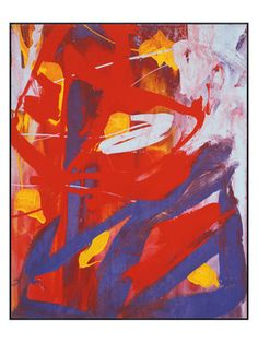 Indigo, Red, White Abstract Painting, c. 1982 by McGaw Graphics on Gilt Home