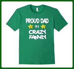 Mens Proud Dad Of A Crazy Family Shirt Star Smile Tee Large Kelly Green - Relatives and family shirts (*Amazon Partner-Link)