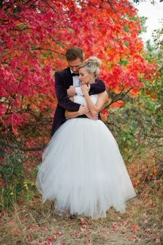 #Wedding Gown With Full Tulle Skirt