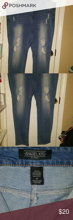 Women's plus size distressed jeans Women's plus size distressed jeans by Angel Kiss fit more like a 22.. Angel Kiss Jeans Skinny