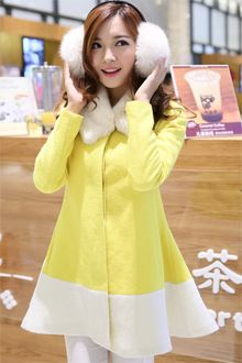 Sweet Winter Fashion Hit Color Woolen Coat (With Fur Collar)