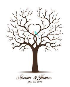 DIY Wedding Tree Guest Book - Printable PDF - Digital Fingerprint Signature Tree 16x20, 17x22, 18x24 or 20x25 inches