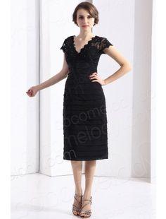 V Neck Knee Length Chiffon Black Party Dress