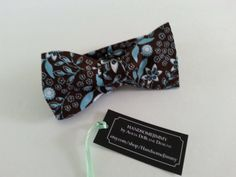Men's Bow Tie- Blue and Brown Floral Print Bowtie- Cotton- Freestyle- Handcrafted by HandsomeJimmy on Etsy