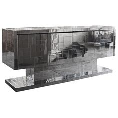 Rare Mirrored Cityscape Credenza Cabinet by Paul Evans | From a unique collection of antique and modern credenzas at https://www.1stdibs.com/furniture/storage-case-pieces/credenzas/