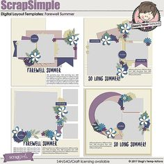 Farewell Summer Digital Scrapbook Templates by Dagi's Temp-tations