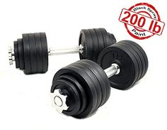 Starring 105 - 200 Lbs adjustable dumbbells (200 LBS Black with Trays). Gym quality chromed/spray painted cast iron. Set up or dismount by hand easily. Can be set up in increment of 5 lbs (adjustable from 5 lbs to 52.5/100 lbs each dumbbell). Optional safety trays for indoor use. Starring patented sporting equipments.