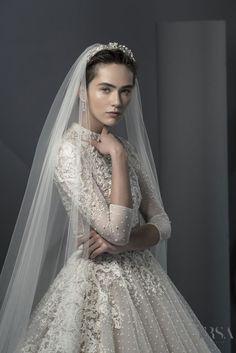 77295dc32a680 ersa atelier spring 2018 bridal three quarter sleeves high neck heavily  embellished bodice elegant princess a line wedding dress covered lace back  chapel ...