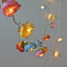 Mexican Garden Shabby Rose Fairy Light String Garland in Fiery Orange Blue Yellow and Pink on Etsy, $35.71