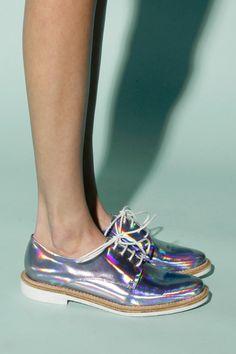 Holographic! Miista Zoe Leather Hologram Shoes in Iridescent Purple http://thriftedandmodern.com/miista-zoe-hologram-iridescent-purple-shoes
