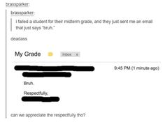 Tumblr funnies. I failed a student for their midterm grade and they just sent me an email that says bruh