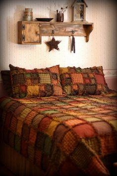 Rag Quilt Kit Queen Homespun Regular Cotton Extra Fabric Primitive Bedroomprimitive