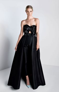 Silk duchesse satin top, silk faille pants Sweetheart strapless neckline Oversized bow and cut-out on front Cigarette style trousers Concealed back zipper Removable pleated silk faille sk…