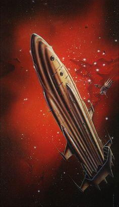 1977 - Impressive space art by Gordon Davies. Used for cover art (Starship Troopers), and posters. The Stars My Destination, Arte Sci Fi, Retro Rocket, 70s Sci Fi Art, Starship Troopers, Spaceship Art, Classic Sci Fi, Alien Worlds, Retro Futuristic