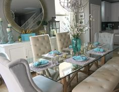 Incredible teal and silver living room design ideas 01 - Round Decor Dining Decor, Dining Room Design, Dining Room Table, Dining Chairs, Dining Rooms, Glass Top Dining Table, Dining Area, Küchen Design, Interior Design
