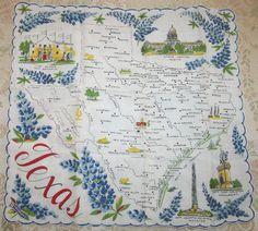 Texas state map + bluebonnet flowers [handkerchief / scarf]