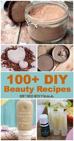 100+ DIY Beauty Recipes - Make-Up, Body Care, Personal Care, Shampoo, Facial Care  More #DIY #Beauty - DontMesswithMama.com