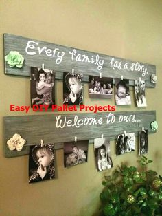 Wooden Pallet Projects Wood pallet picture holder - New (never used), Cute way to display all those great memories. Choose any color stain or paint to match your home . Make an offer! Handmade Home Decor, Unique Home Decor, Cheap Home Decor, Home Decor Items, Recycled Pallets, Wood Pallets, Pallet Wood, Plastic Pallets, Pallet Boards