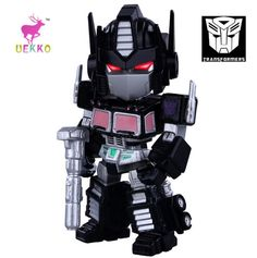 UEKKO anime figure toy Transformation black Q version Optimus light-emitting action Model For Collection / Gift Original Box