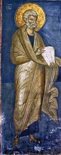 Св. апостол Петр, Дечани / 14th-century fresco of Saint Peter The Apostle, Visoki Dečani, Kosovo, Serbia