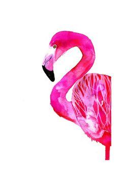 Flamingo, print 21x30 cm. I love a flamingo, any season, any time. So cheery. And PINK.