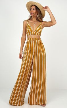 There You Were Two Piece Set In Mustard Stripe | Showpo Cochella Outfits, Boho Outfits, Pretty Outfits, Fashion Outfits, Greek Outfits, Two Piece Dress, Two Piece Outfit, Two Piece Pants Set, Cruise Outfits