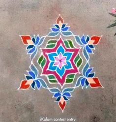 Contest entry Margazhi Dew Drops Contest 2016 13 to 7 intermediate dots; 6 to 1 on all sides | m.iKolam.com