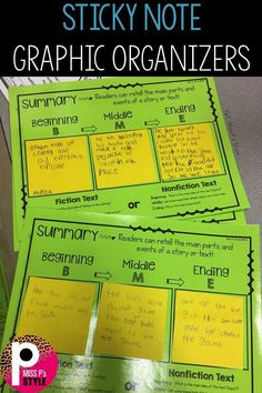 Interactive graphic organizers can be used during your reading block! Sticky notes can stick perfectly to these activity sheets. Reading Centers, Reading Workshop, Reading Skills, Teaching Reading, Guided Reading Groups, Reading Resources, Reading Group Activities, Guided Reading Organization, Teaching Ideas