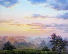 Misty Morning Field by Varvara Harmon - Misty Morning Field Painting - Misty Morning Field Fine Art Prints and Posters for Sale