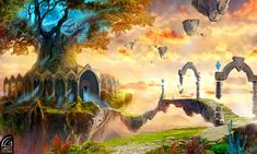 Tree of life FINAL by moon-ys on DeviantArt Fantasy City, Fantasy Forest, Fantasy Castle, Fantasy Island, Fantasy Places, Fantasy World, Fantasy Art Landscapes, Landscape Artwork, Fantasy Landscape