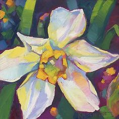 KMSchmidt-ORIGINAL-Daily-Painting-6x6-contemporary-BOLD-YELLOW-DAFFODIL-art