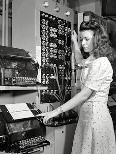 June 1943. Washington, D.C. Muriel Pare, a switching clerk at the Western Union telegraph office.